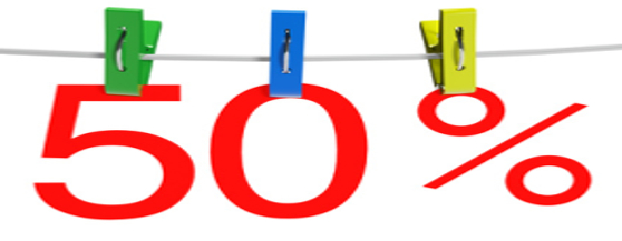 50 percent sale symbol with the clothespins on a white background