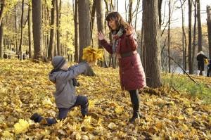 otoño madre hijo